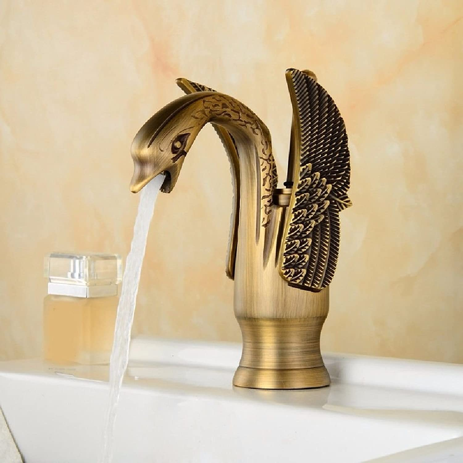 LHbox Basin Mixer Tap Bathroom Sink Faucet Full color antique brass swan hot and cold basin faucet, antique