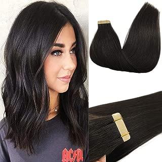 GOO GOO Tape in Hair Extensions Natural Black Remy Human Hair Extensions Tape in Real Natural Hair Straight 20 inch 50g 20pcs