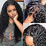 ISEE Hair Deep Wave Lace Front Wigs Human Hair for Black Women 150% Density Brazilian Loose Wave Lace Front Wig with Baby Hair Pre Plucked Bleached Knots Natural Color (18'', 13x4 Lace Front Wig)