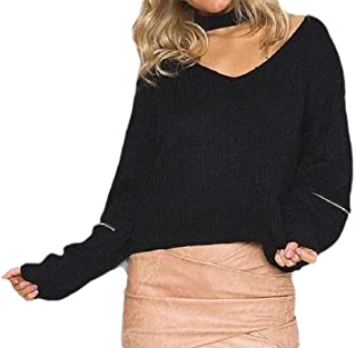 Womens Cut Out Choker Neck Sexy V Neck Knitted Ribbed Long Sleeve Loose Pullover Sweater Top