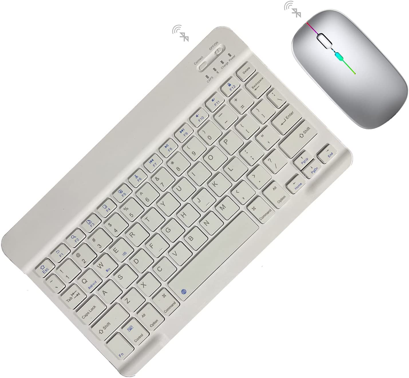 SUMAIR Wireless Keyboard and Mouse for iPad Compatible with iPad 10.2 / iPad Air 4 / iPad Pro/iPad Mini, Android Tablets,Bluetooth Keyboard and Mouse Combo Slim and Portable (White+Light Gray)