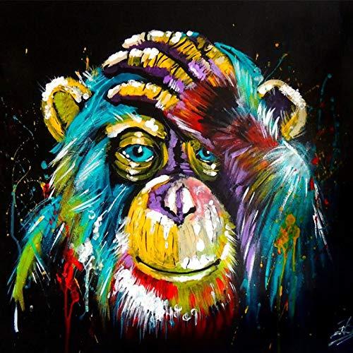 KWzEQ Pop Graffiti Arte Lienzo Pensamiento Mono Animal Pared Arte Cartel decoración del hogar,Pintura sin Marco,60x75cm