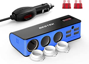 BESTEK 3-Socket Cigarette Lighter Adapter, 12V/24V 200W DC Cigarette Outlet Splitter Power Adapter with 4-USB PortS Car Power Adapter for GPS, Dashcam, Low Voltage Protection with Replace Fuse