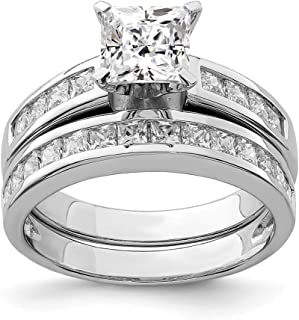925 Sterling Silver 2 Piece Cubic Zirconia Cz Size 6 Wedding Set Band Ring Engagement Fine Jewelry Gifts For Women For Her