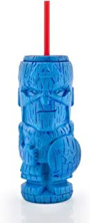 Geeki Tikis Marvel Captain America Tumbler | Official Marvel Collectible Plastic Tiki Style Cup | Holds 19 Ounces