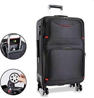 HLXB Men Black Travel Suitcase, Softside Expandable Large Capacity Trolley Luggage, 4 Spinner Wheels, 24in, 26in, 28in