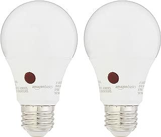 AmazonBasics 60 Watt Equivalent, Dusk to Dawn Sensor, Non-Dimmable, A19 LED Light Bulb | Soft White, 2-Pack