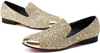 Mr.Zhang's Art Home Men's shoes Zapatos de Hombre de Oro Zapatos de Hombre de Negocios Retro Zapatos Casual de Lentejuelas...