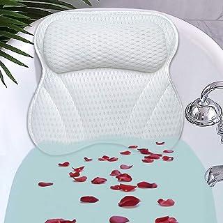 Cojín de bañera de alta calidad para cuello y espalda con tejido AirMesh 3D y 6 ventosas, tejido higiénico, respaldo para reposacabezas, comodidad para el spa en casa y bañeras