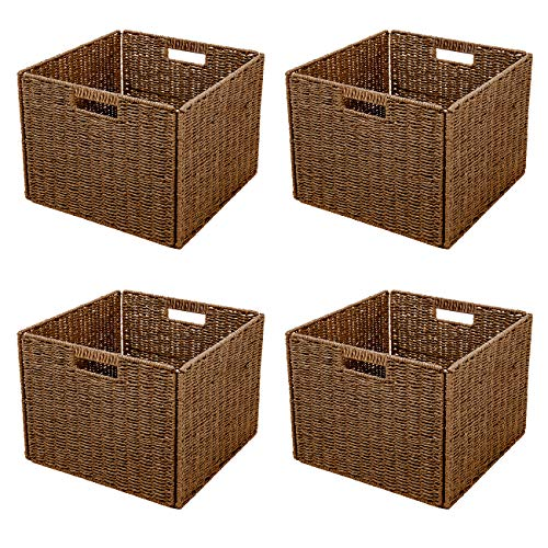 Trademark Innovations Foldable Storage Basket, Set of 4, Brown