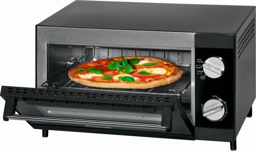 Minihorno con función de parrilla y calor superior e inferior, horno multihorno, horno para pizza (12 L, 1000 W, incluye bandeja, parrilla y bandeja para migas)