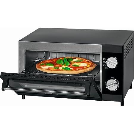 Mini four à pizza avec fonction grill et chaleur supérieure et inférieure Mini-four multi Four à pizza 12 litres (puissance 1000 W + plaque de cuisson, grille et tiroir ramasse-miettes)