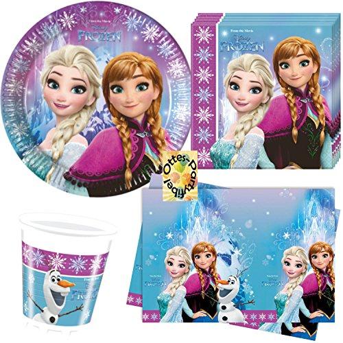 Nordlicht Frozen Eiskönigin Anna & ELSA 53 Teile Party-Set Teller Becher Serviette Tischdecke für 16 Kinder