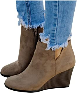 Padaleks Women High Heels Boots Wedding Bride Shoes Lady Dress Ankle Booties Thick Heel Wedges Shoes Suede Boots