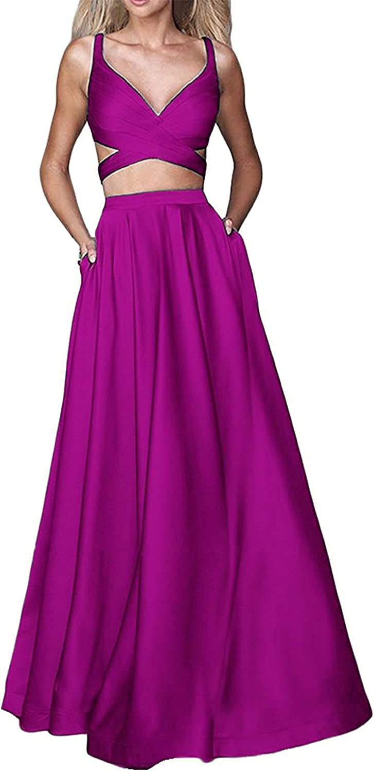 Anna's Bridal Women's Two Pieces Long Prom Dresses 2019 Evening Party Gowns Navy bluee