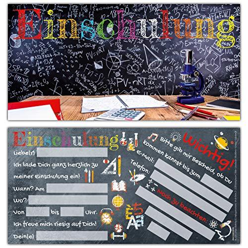 12 Einladungskarten zur Einschulung TAFEL - Einschulungskarten Einladung für Kinder zum Schulbeginn Schuleingang Schulanfang Karten von BREITENWERK