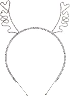 Crystal Rhinestone Antler Holiday Silver Headband Christmas Holidays Rudolph