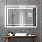 Ruinnykai LED Bathroom Wall-Mounted Mirror Anti-Fog Makeup Mirror with Dimmable Light and Touch Button(Horizontal/Vertical) (32 x 24 Inch)