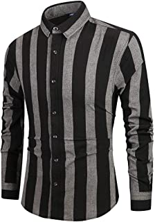 Mens Top Blouse Vertical Striped Turndown Slim Fit Long Sleeve Casual Button Down Dress Shirts