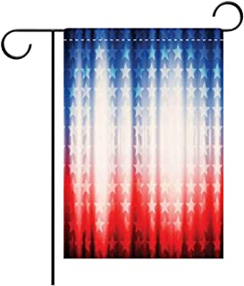 Double Sided Premium Garden Flag American Flag Decor Abstract Background with Stars in Digital Neon Lights Colors Design Image Blue Red Decorative Deck, patio, Porch, Balcony Backyard, Garden or Lawn