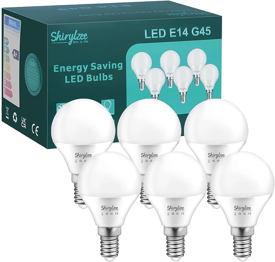 E14 LED Lampe,5W G45 Glühbirne E14 LED ersetzt 50W Birne ,6500K 450 Lumen kaltweiß Glühlampe,360° Abstrahlwinkel Energiesparlampe Kein Flackern, Nicht Dimmbar Leuchtmittel, 6er Pack