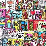 Keith Haring Aufkleber für Snowboard, Laptop, Gepäck, Auto, Kühlschrank, Auto, Styling, Skateboard, Gitarre, 50 Stück