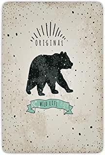 Bathroom Bath Rug Kitchen Floor Mat Carpet,Bear,Vintage Wildlife Label Hunting Theme Icon with Random Dots Predator Paws Decorative,Tan Black Mint Green,Flannel Microfiber Non-slip Soft Absorbent