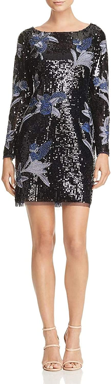 Aidan Mattox Womens Embroidered Sequined Cocktail Dress