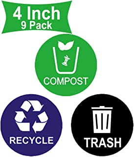 Well Tile Recycle Sticker Trash Bin Label Compost Sign Decal 9 Pack - 4