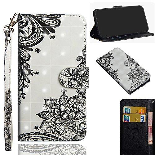 Ooboom LG Stylus 4/LG Stylo 4/LG Q Stylus Hülle 3D Flip PU Leder Schutzhülle Handy Tasche Hülle Cover Ständer mit Kartenfach Trageschlaufe für LG Stylus 4/LG Stylo 4/LG Q Stylus - Schwarz Lotus