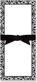 Black & White Printed Designer Note Pad with Black Grosgrain Ribbon, Premium Quality 50 Tear Off Sheets 4 x 9 Inches, Erra...
