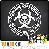 Zombie Outbreak Skull 11 x 11 cm IN 15 FARBEN - Neon + Chrom! Sticker Aufkleber