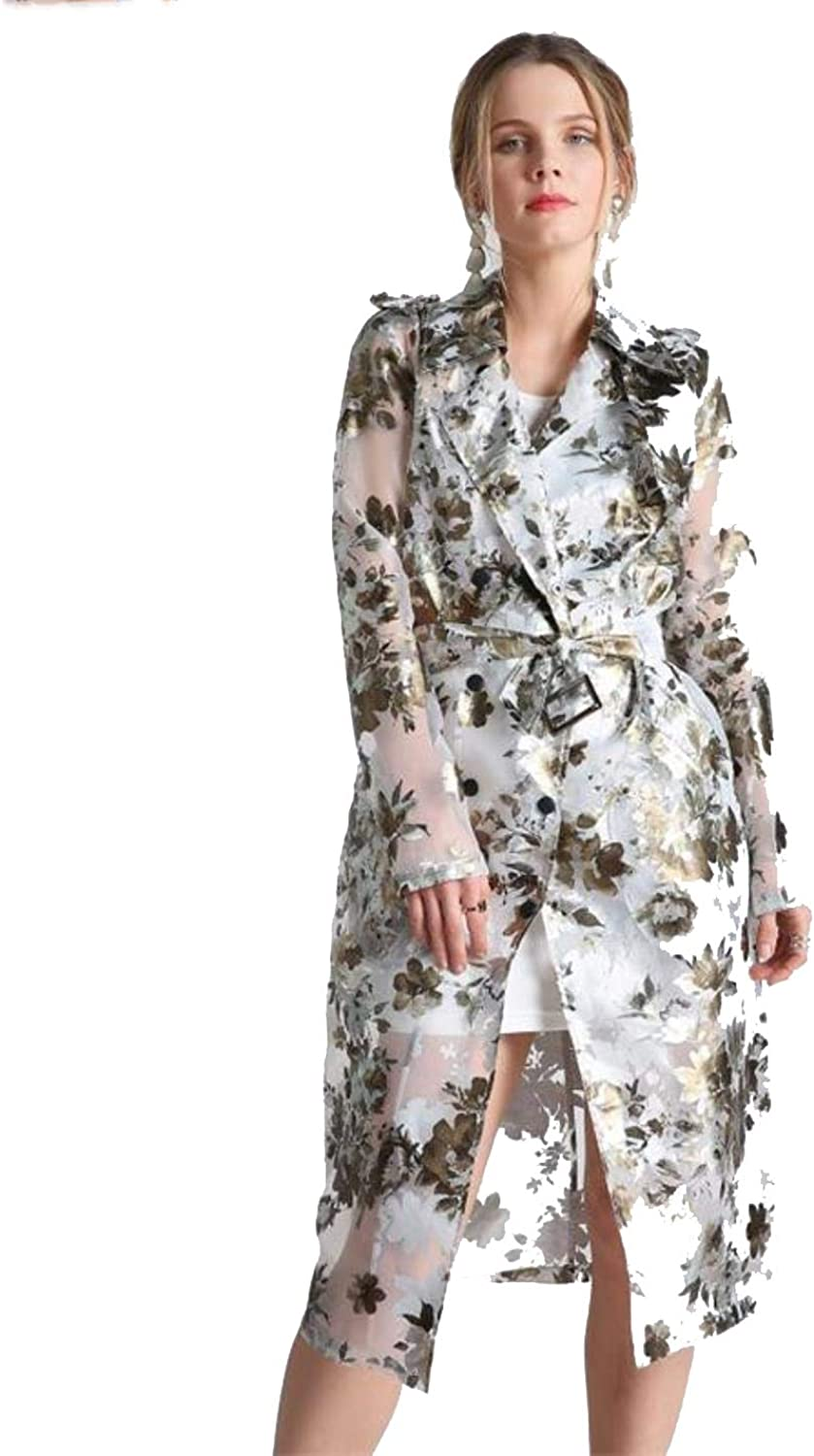 QiGmZM Sexy Women Transparent Fashion Floral Double Breasted Long Outwear