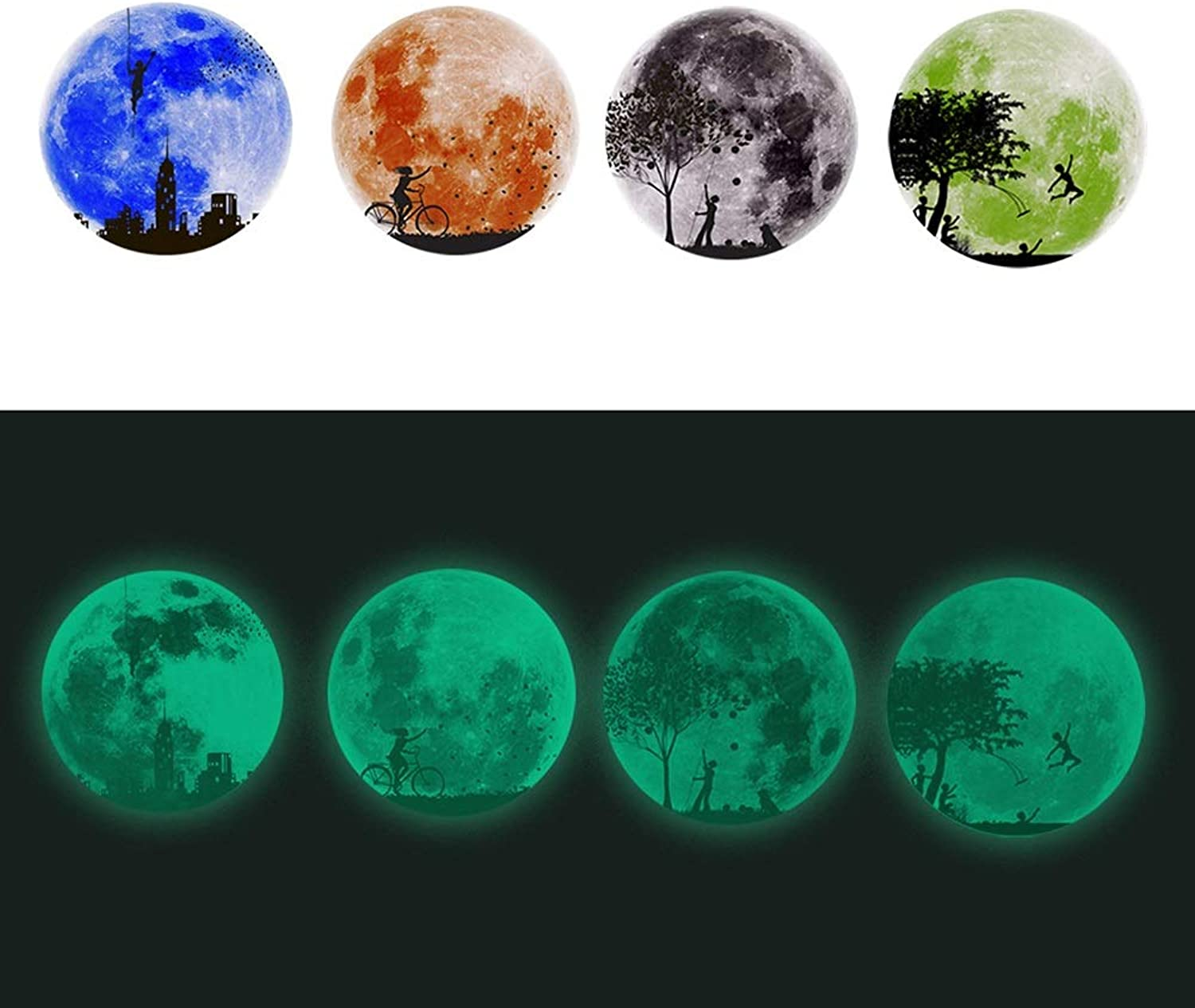 Glowing Wall Stickers, Moon Character Series DIY Living Room Bedroom Can Be Remove SelfSticking 30  30cm