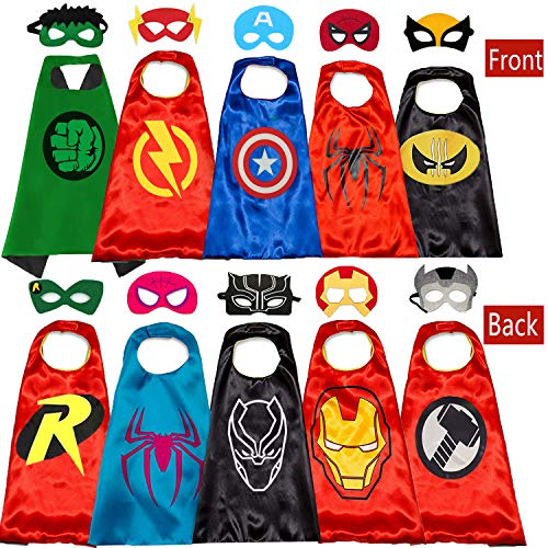 Kids Cartoon Hero Capes - Role Playing Halloween Costumes and Masks Birthday Party Gifts (5PCS)