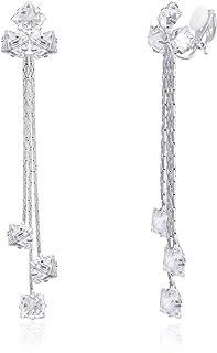 YOQUCOL Women Cubic Zirconia Crystal Long Drop Dangle Clip On Earrings For Not Pierced Gils