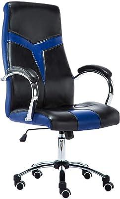 JR Knight Silla de oficina, piel sintética, silla de escritorio ejecutiva Black&blue