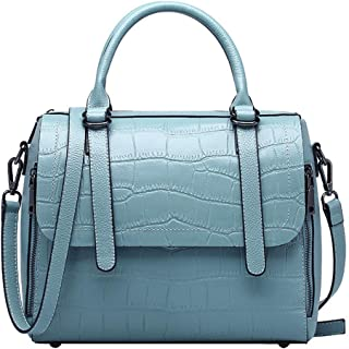 Bags Genuine Leather Women Top Handle Satchel Handbag Tote Shoulder Bag Purse Crossbody Bag Shoulder Tote Bag (Color : Light Blue)