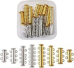 Kissitty 16 Sets 2~5 Strands Brass Magnetic Slide Lock Clasps Mixed Colors Multi-Strand Necklace Bracelet Tube Clasps