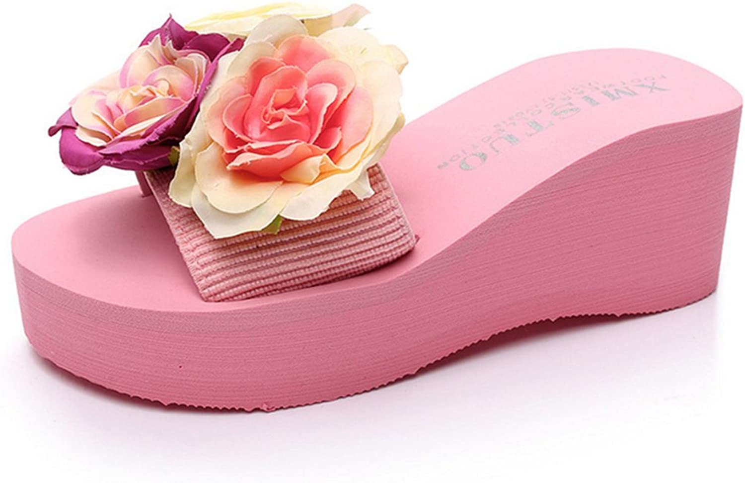 Summer pinks Flower Sandals Wedge Platform shoes High Heels Beach Ladies Thick High Flip Flops,Pink,42