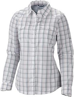 Columbia Sportswear Womens Silver Ridge Plaid Long Sleeve Shirt, White, X-Small