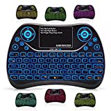 ANEWKODI Mini Wireless Keyboard, Touchpad Mouse Combo with Backlit Multimedia keys 2.4GHz USB Rechargeable Handheld Remote Control Keyboard for Smart TV, Laptop, PC, Tablet, X-box, Android TV Box
