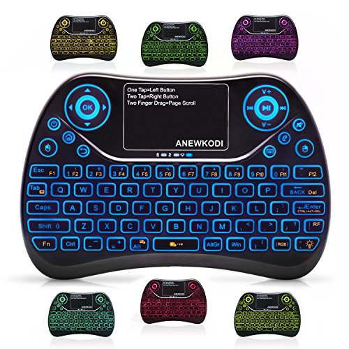 ANEWKODI Mini Wireless Keyboard with Touchpad Mouse Combo & Backlit Multimedia keys, 2.4GHz USB Rechargeable Handheld Remote Control Keyboard for Smart TV/Laptop/PC/X-box/Android TV Box