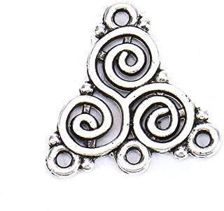 Monrocco 100 Pcs Antique Silver Celtic Triskelion Spiral Charms Connector Triangle Chandelier Components Links Earring Making Jewelry Supplies
