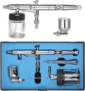 Dual-Action Airbrush Kit Set Adjustable Air Control 0.25Mm 7Cc /22Cc Trigger Spray Gun for Nail Arts Body Paint Painting A...