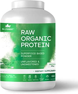 Dr. Forest Organic Raw Cold Pressed Vegan Plant Protein Powder - Add to Your Favorite Smoothies or Shakes - Non-GMO Certified Organic 20 Grams Protein per Serving, 2.2 lbs (Unflavored, 1.1 lbs)