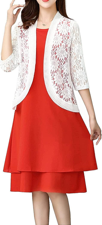 Women's 3/4 Sleeve Floral Lace Crochet Shrugs Bolero Sheer Crop Short Sleeve Open Front Cardigan