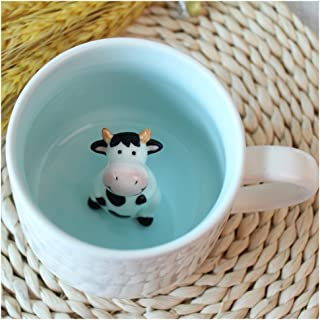 3D Cute Cartoon Miniature Animal Figurine Ceramics Coffee Cup - Baby Cow Inside, Best Office Cup & Birthday Gift (Cow)