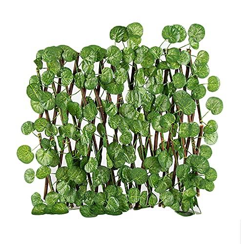 FXforer Faltbarer Holzzaun mit Begonia-Blättern, flexibler Garten-Trennwand, Tor, Blumentopf-Ausstellungsrahmen, Zaun, Rankgitter, Ständer für Wohnzimmer, Balkon, Terrasse