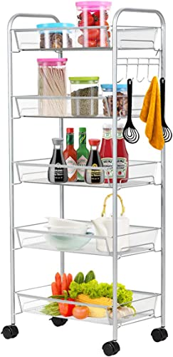 lowest Giantex 5-Tier Storage Cart Rolling Trolley Organizer Utility Cart with Lockable Wheels, 5 Hooks, Mesh popular Shelves for Home Kitchen, Bathroom, Office popular and Bedroom (Gray) sale